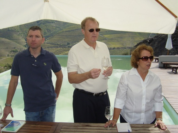 Aperitifs served poolside at Quinta do Crasto (Charlie and me with Andy)