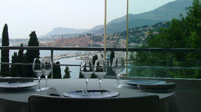 our table and view at Le Mirazur