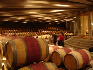 the barrel room of Montes (where Gregorian music is played so that the wine can age in serene conditions!)