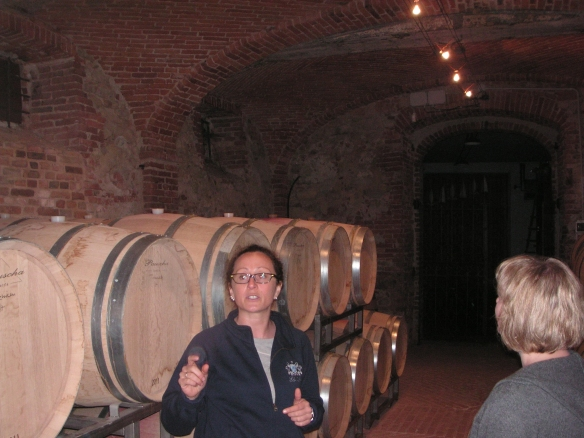 Silvia Altare in the barrel room of Elio Altare