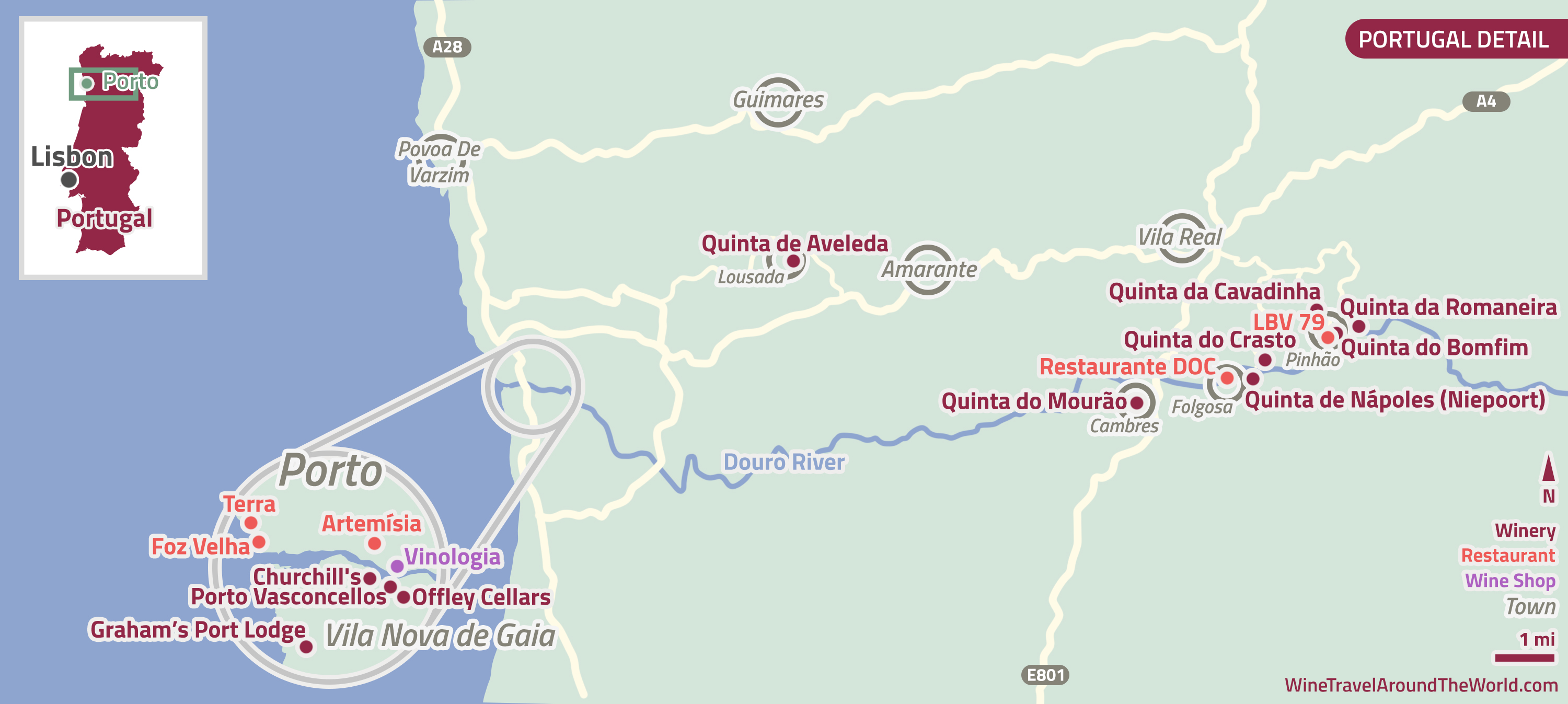 Porto Vila Nova de Gaia and the Douro Visits to Churchills Dow