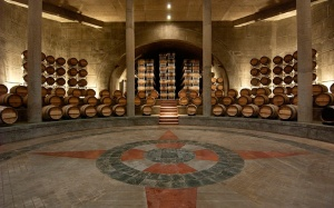 the beautiful barrel room at Salentein
