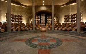the beautiful barrel room at Salentein