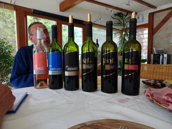 our tasting at Jandl, wih Kálmán Jandl behind the bottles