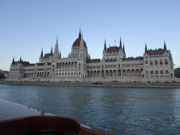 early evening view from the Danube River cruise - Parliament building on the Pest side
