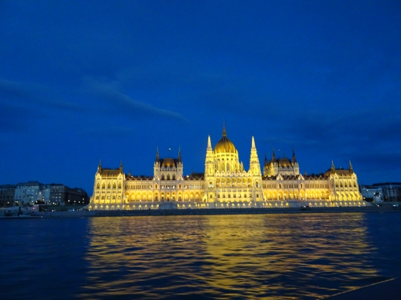 night view from the Danube River cruise - Parliament on the Pest side