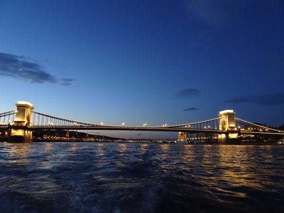 view of the Chain Bridge from the Danube River cruise