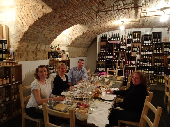 "Carolyn, Virág, Gábor and me at our ""old Aszús"" tasting at the Tasting Table"