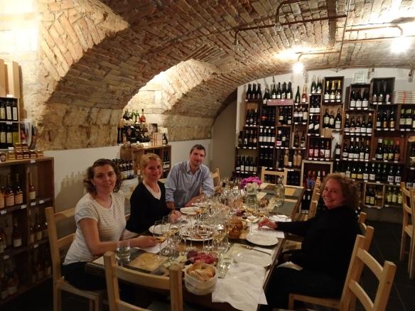 "Carolyn, Virág, Gábor and me at our ""old Aszús"" tasting at the Tasting Table"